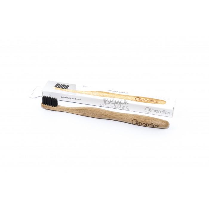 Periuta de dinti NORDICS din bambus, cu carbune activ