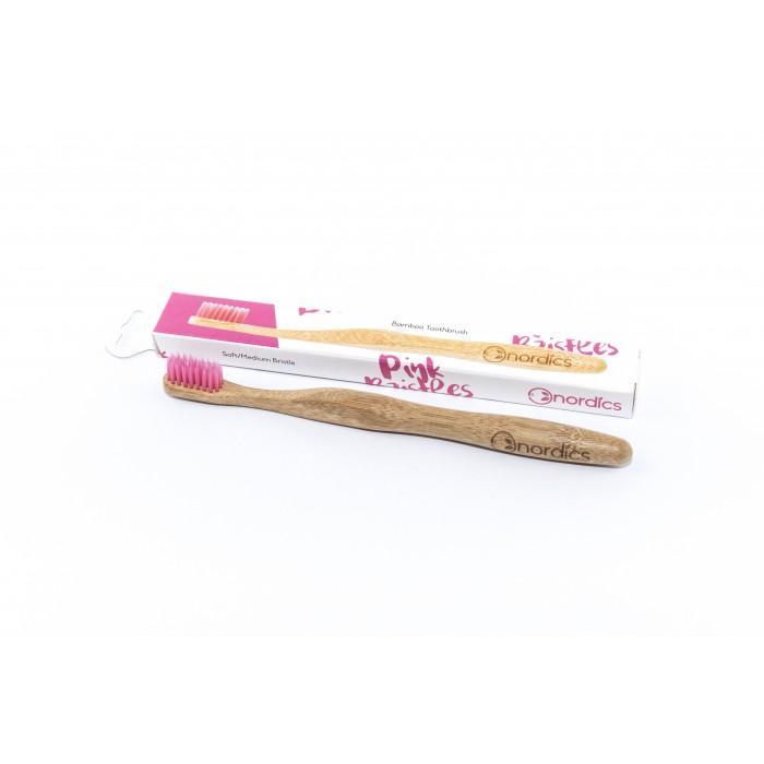 Nordics Periuta de dinti Pink, din bambus